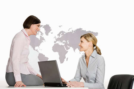 two persons only: Businesswomen with laptop