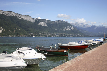landforms: Boats on lake annecy