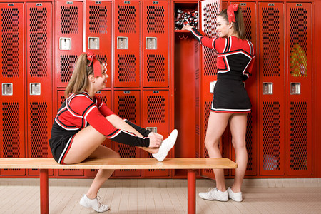16: Cheerleaders in locker room