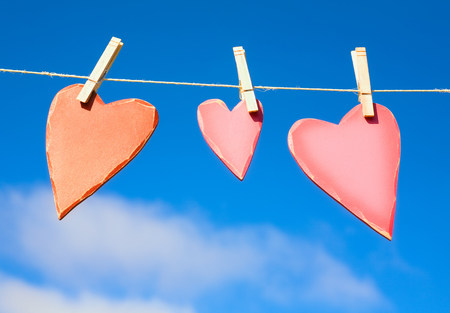 Three hearts on a washing line