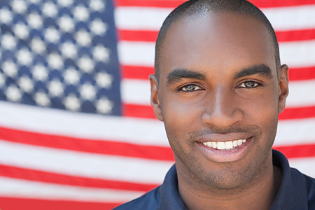 Young man and and american flag