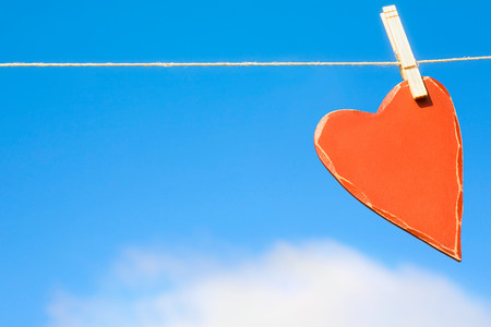 Heart on a washing line
