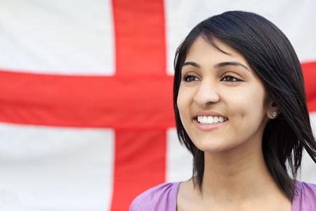 Teenage girl and english flag LANG_EVOIMAGES