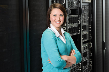 sweatshirts: Portrait of a female computer technician