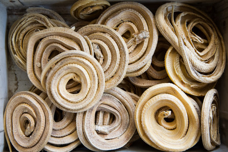 Dried coiled snakes in markets LANG_EVOIMAGES