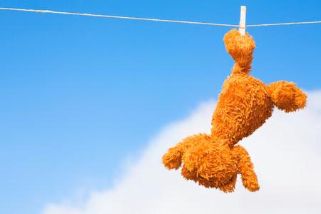 Teddy bear on a washing line