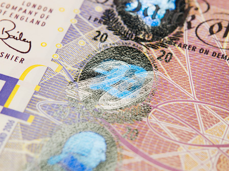 gb pound: Close up of twenty pound note LANG_EVOIMAGES