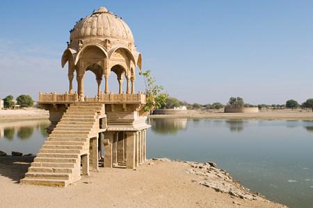 Stone tower by gadi sagar lake