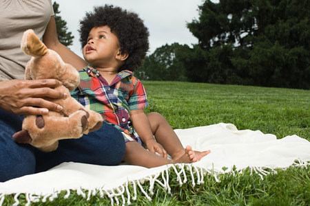 woman hanging toy: Baby and mother on blanket in park