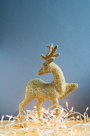 Reindeer decoration and christmas lights