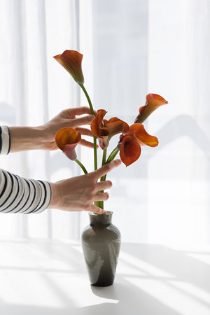 Woman arranging flowers LANG_EVOIMAGES