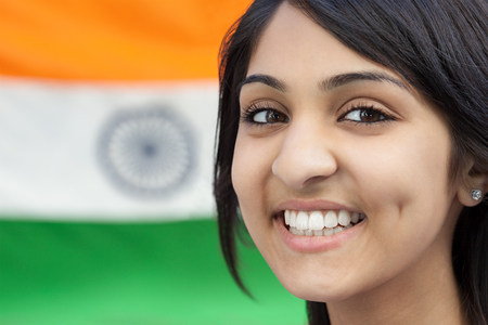 looking at viewer: Teenage girl and indian flag