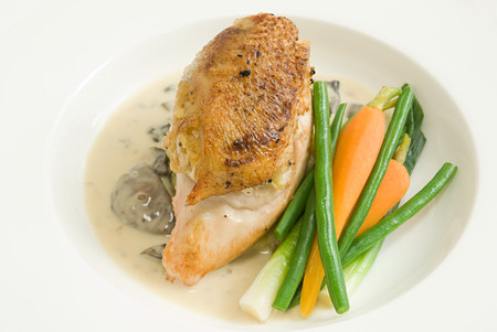 Chicken in cream sauce with vegetables