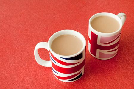 tea breaks: Cups of tea in union jack mugs