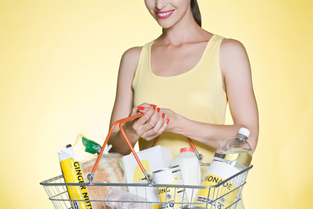 Woman with basic groceries in basket LANG_EVOIMAGES