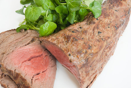 carnes y verduras: Rare roast beef