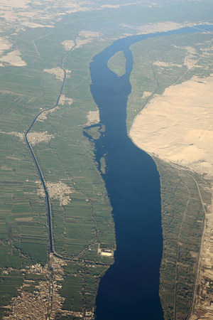 time off: Aerial view of river nile near aswan