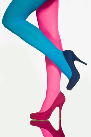 panty hose: Woman with contrasting tights and shoes