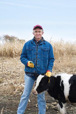 farmyards: Farmer with a calf LANG_EVOIMAGES