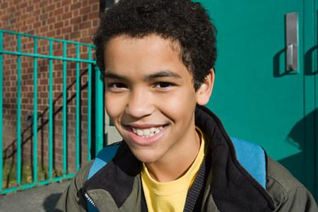 Boy outside school