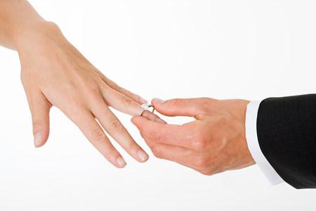 cropped shot: Groom placing ring on brides finger