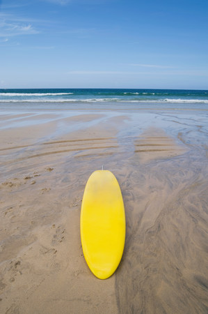 Lifeguard surfboard on st ives beach LANG_EVOIMAGES