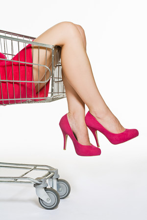 Woman in a shopping trolley