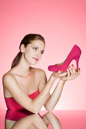 Woman holding a stiletto