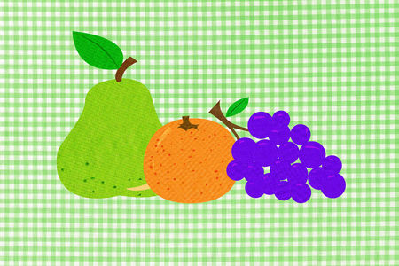 enhanced healthy: Fruit on green gingham background