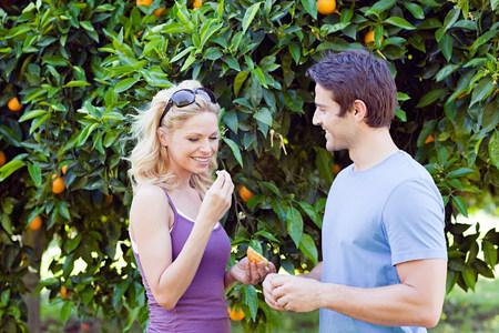 Couple by orange tree