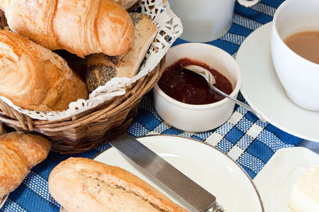 unhealthiness: Croissants, bread and jam