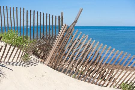 montauk: Fence on a beach, Montauk, Long Island