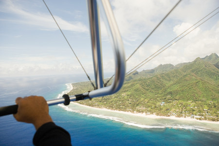 Man paragliding, aerial view