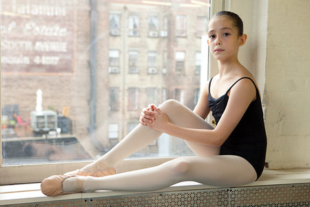 undergarment: Ballerina sitting on windowsill