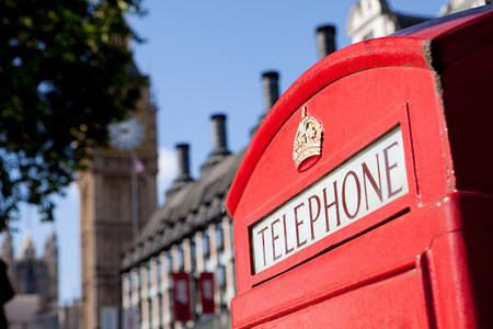 Red telephone box and Big Ben, Westminster, London
