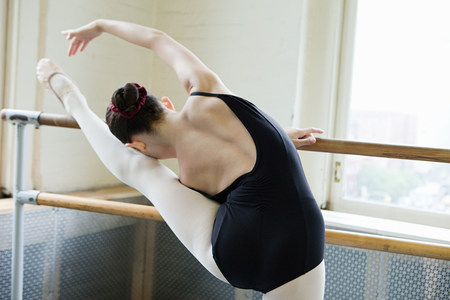 scrunchie: Ballerina stretching at barre
