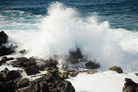Ocean waves and rocks, La Caleta, Lanzarote