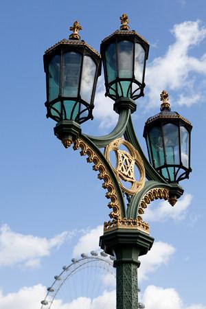 Street light and Millennium Wheel, London
