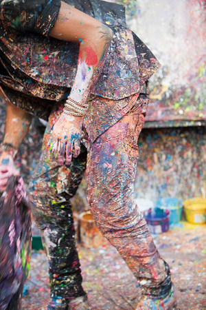 untidiness: Artist and splattered paint, San Telmo, Buenos Aires, Argentina