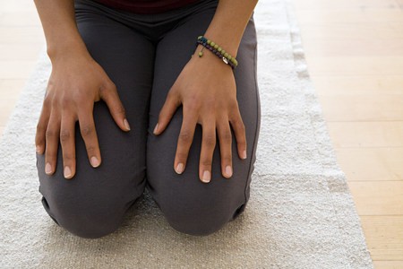 keep in touch: Woman kneeling