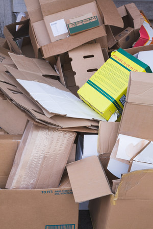 environmentalism: Pile of cardboard boxes for recycling