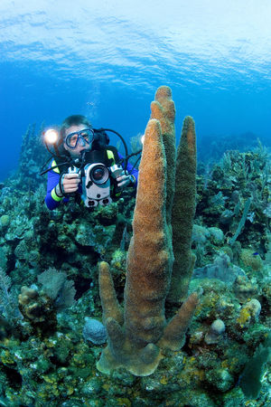 Videographer on coral reef