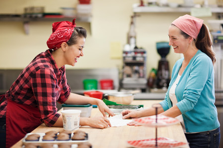 Women working together in commercial kitchen