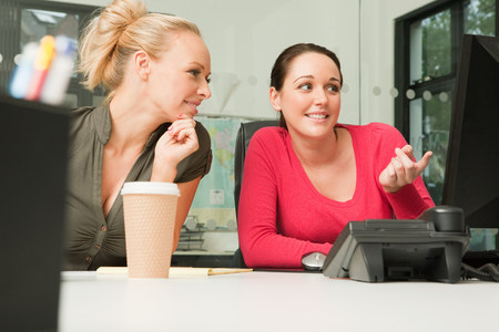 Two female employees looking at a computer LANG_EVOIMAGES