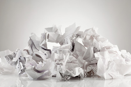 fed up: Crumpled sheets of paper