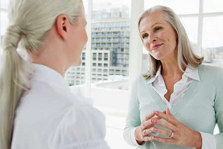 two persons only: Two businesswomen talking in office LANG_EVOIMAGES