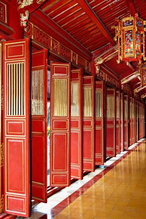 housing lot: Red doors of Thai Hoa Palace, Hue, Vietnam LANG_EVOIMAGES