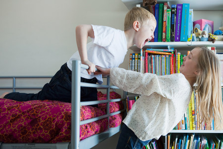 bunkbed: Children playing on bunkbed LANG_EVOIMAGES