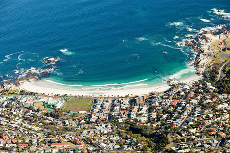 travel features: View down to beach of Camps Bay from top of Table Mountain, Cape Town, South Africa