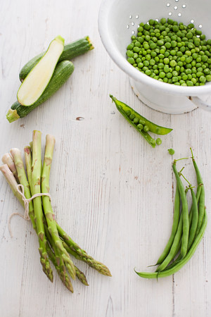 Green vegetables with peas, courgette, asparagus and green beans LANG_EVOIMAGES